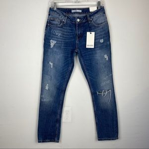 NWT Zara Relaxed Stamped Distressed Jeans